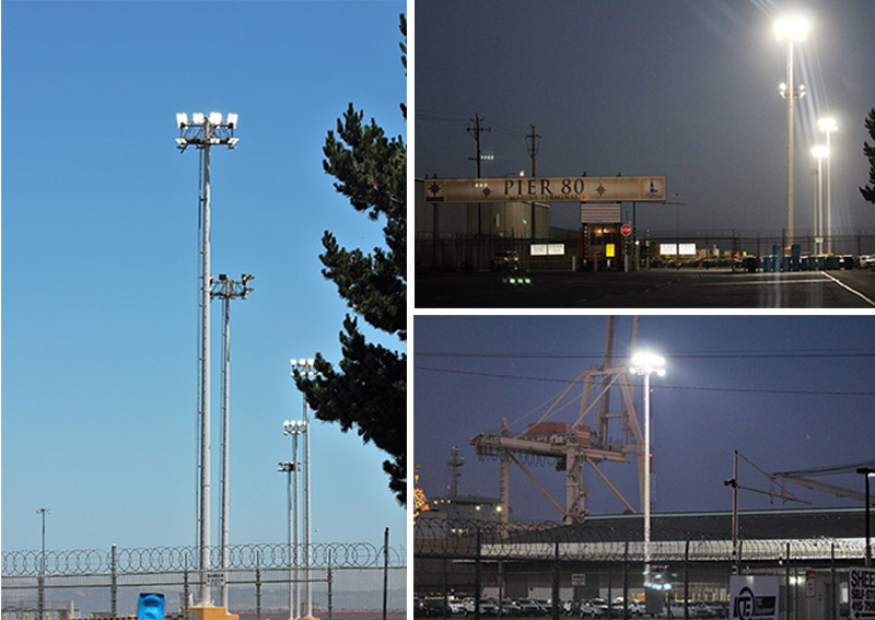 YAHAM LED high mast lighting system in the San Francisco Port